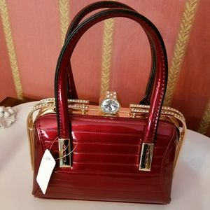 Handbags - Wine Patent Frame Bag